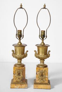 Pair of French Empire Style Bronze Urn Lamps - 1927552