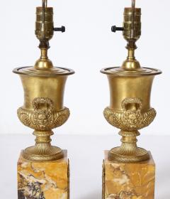 Pair of French Empire Style Bronze Urn Lamps - 1927559