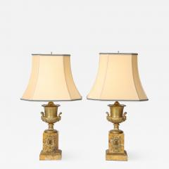 Pair of French Empire Style Bronze Urn Lamps - 1929790