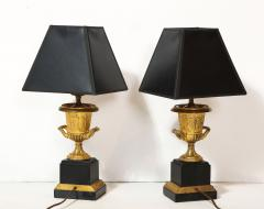 Pair of French Empire Style Bronze Urn Lamps - 1989247