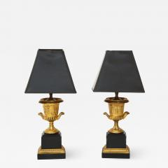 Pair of French Empire Style Bronze Urn Lamps - 1995223