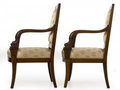 Pair of French Louis Phillipe Napoleonic Carved Mahogany Arm Chairs ca 1840 - 1091470