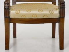 Pair of French Louis Phillipe Napoleonic Carved Mahogany Arm Chairs ca 1840 - 1091471