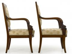 Pair of French Louis Phillipe Napoleonic Carved Mahogany Arm Chairs ca 1840 - 1091476