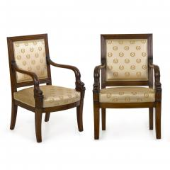 Pair of French Louis Phillipe Napoleonic Carved Mahogany Arm Chairs ca 1840 - 1091481