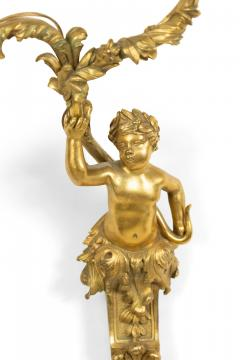 Pair of French Louis XV Style Bronze Dore Cherub Wall Sconces - 1380339