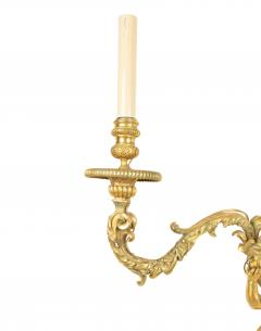 Pair of French Louis XV Style Bronze Dore Cherub Wall Sconces - 1380340