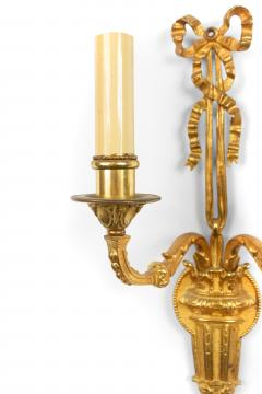 Pair of French Louis XVI Style Bronze Dore Wall Sconces - 1398461
