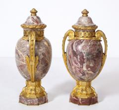 Pair of French Louis XVI Style Bronze Mounted Marble Urns - 1941182