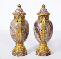 Pair of French Louis XVI Style Bronze Mounted Marble Urns - 1941183