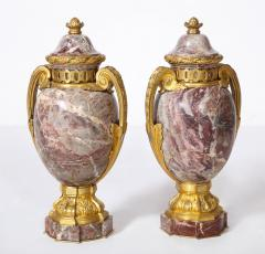 Pair of French Louis XVI Style Bronze Mounted Marble Urns - 1941185