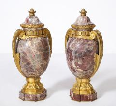 Pair of French Louis XVI Style Bronze Mounted Marble Urns - 1941186