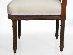 Pair of French Louis XVI Style Carved Walnut Antique Accent Side Chairs - 1125118