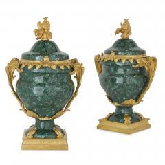 Pair of French Malachite and Gilt Bronze Vases - 1937785
