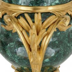 Pair of French Malachite and Gilt Bronze Vases - 1937789