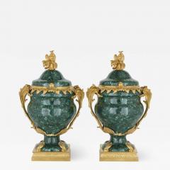 Pair of French Malachite and Gilt Bronze Vases - 1938369