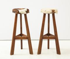 Pair of French Mid Century Stools with Cowhide Seats - 1865465