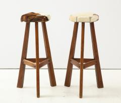 Pair of French Mid Century Stools with Cowhide Seats - 1865467