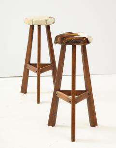 Pair of French Mid Century Stools with Cowhide Seats - 1865468