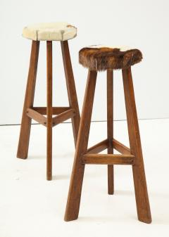 Pair of French Mid Century Stools with Cowhide Seats - 1865469