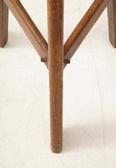 Pair of French Mid Century Stools with Cowhide Seats - 1865471