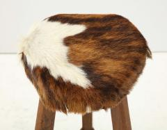 Pair of French Mid Century Stools with Cowhide Seats - 1865473