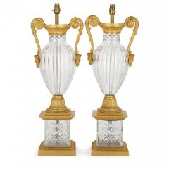 Pair of French Neoclassical Style Gilt Bronze and Cut Glass Lamps - 2003822