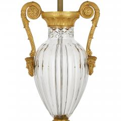 Pair of French Neoclassical Style Gilt Bronze and Cut Glass Lamps - 2003824