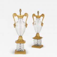 Pair of French Neoclassical Style Gilt Bronze and Cut Glass Lamps - 2010200