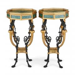 Pair of French Neoclassical Style Malachite and Gilt Bronze Side Tables - 1907384
