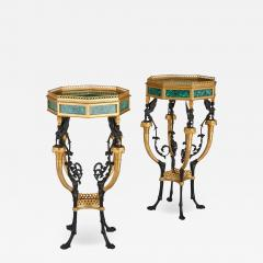 Pair of French Neoclassical Style Malachite and Gilt Bronze Side Tables - 1907964