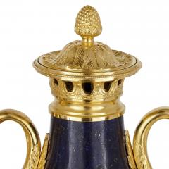 Pair of French Neoclassical style lapis and gilt bronze vases - 1626973