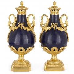 Pair of French Neoclassical style lapis and gilt bronze vases - 1626975