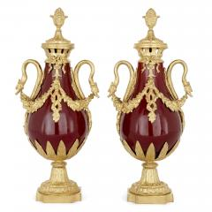 Pair of French Neoclassical style red t le and gilt bronze vases - 1924900