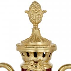 Pair of French Neoclassical style red t le and gilt bronze vases - 1924903