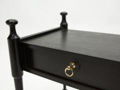 Pair of French Night Stands black tinted wood and brass 1970s - 1919216