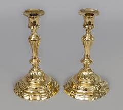 Pair of French Period 18th Century Brass Candlesticks - 510716