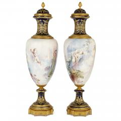 Pair of French Rococo style porcelain and gilt bronze vases - 2073939