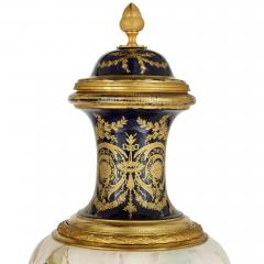 Pair of French Rococo style porcelain and gilt bronze vases - 2073940