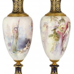 Pair of French Rococo style porcelain and gilt bronze vases - 2073941