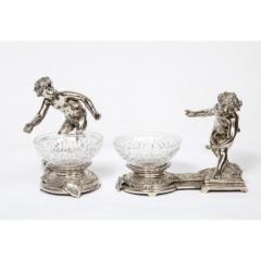Pair of French Silvered Bronze and Glass Centerpieces with Cherubs - 1111002