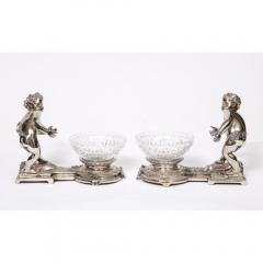 Pair of French Silvered Bronze and Glass Centerpieces with Cherubs - 1111003