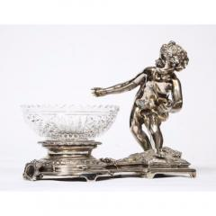 Pair of French Silvered Bronze and Glass Centerpieces with Cherubs - 1111004