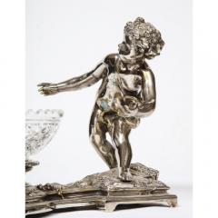 Pair of French Silvered Bronze and Glass Centerpieces with Cherubs - 1111007