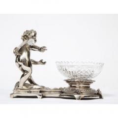Pair of French Silvered Bronze and Glass Centerpieces with Cherubs - 1111008