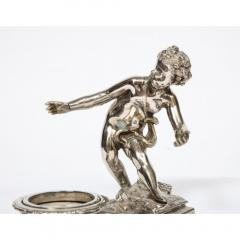 Pair of French Silvered Bronze and Glass Centerpieces with Cherubs - 1111010