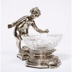 Pair of French Silvered Bronze and Glass Centerpieces with Cherubs - 1111011