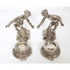 Pair of French Silvered Bronze and Glass Centerpieces with Cherubs - 1111012