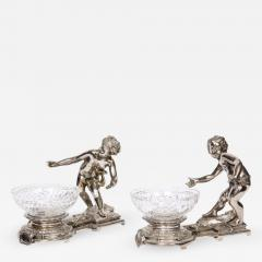 Pair of French Silvered Bronze and Glass Centerpieces with Cherubs - 1111252
