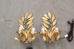 Pair of French Vintage Gilt Brass Laurel Leaf Two Arm Sconces - 833022